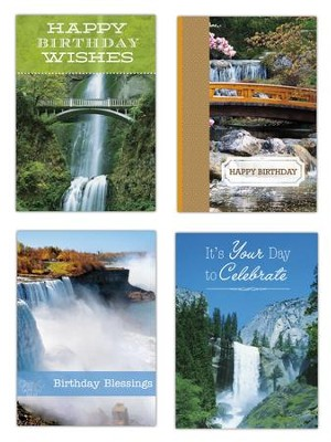 Waterfalls Birthday Cards, Box of 12  -
