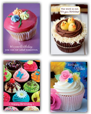 Cupcakes Birthday Cards, Box of 12  -