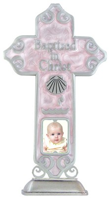 Baptized in Christ Tabletop Cross, Pink  -