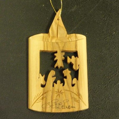 Olivewood Candle with Nativity Ornament  -