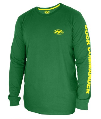 Duck Commander Shirt, Long Sleeve, Green, Medium  -