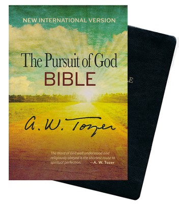 The Pursuit of God Bible, New International Version, Black Genuine Leather, Thumb Indexed  -