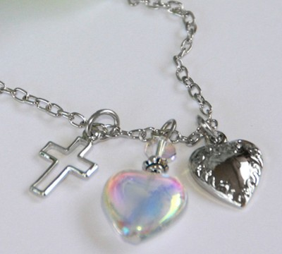 Amazing Grace, Open Cross, Glass Heart, Vintage Heart Necklace  -