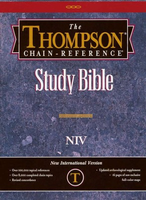 NIV Thompson Chain-Reference Bible, Burgundy  Genuine Leather, Capri Grain, Thumb Indexed  -