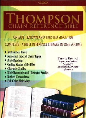 NKJV Thompson Chain  Reference Bible, Genuine Leather Black, Indexed  -