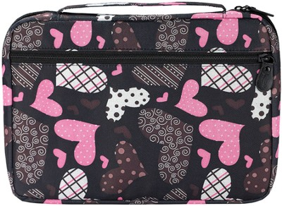Patchwork Hearts Bible Cover, Black and Pink, Extra Large  -