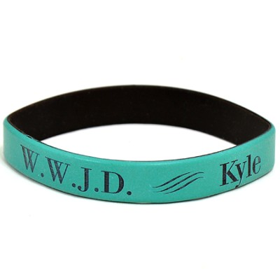 Personalized, WWJD Wristband, With Name, Bold, Teal   -