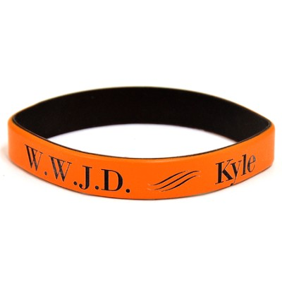 Personalized, WWJD Wristband, With Name, Bold, Orange   -