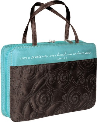Love Is Patient Bible Cover, Blue and Brown, Medium  -