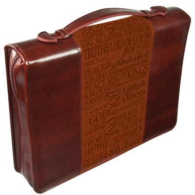 Names of Jesus Bible Cover, Brown, Medium  -