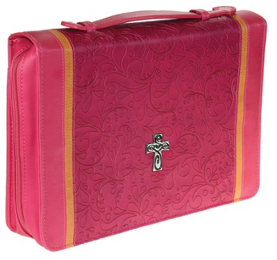Decorative Cross Bible Cover, Pink, Large  -