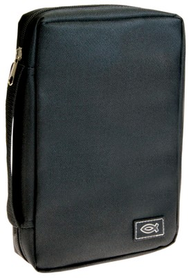 Bible Cover with Ichthus, Black, Medium  -