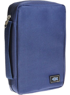 Bible Cover with Ichthus, Blue, Large  -