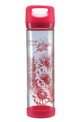 All Things Possible Glass Water Bottle  -