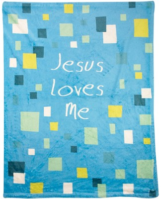Jesus Loves Me Throw, Blue  -