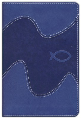 NIrV Backpack Bible, Italian Duo-Tone, ocean blue with ichthus  -