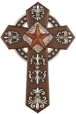 Western Style Wall Cross with Star  -
