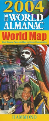 2004 World Almanac Slicker Folding World Map   -