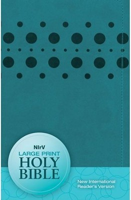 NIrV Large-Print Bible--soft leather-look, teal with dots  -