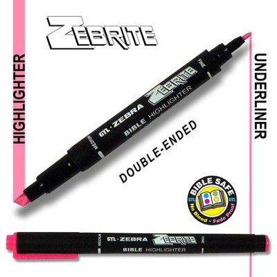 Zebrite Double End Marker, Pink   -