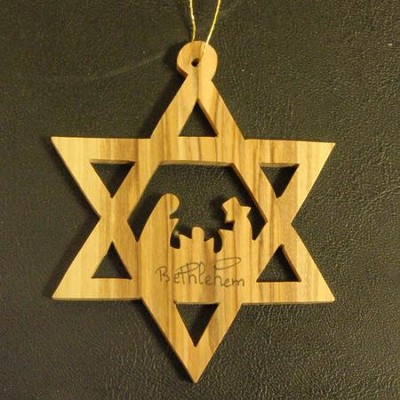 Star of David with Nativity Olivewood Ornament  -