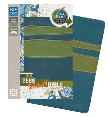 NIV Teen Study Bible, Compact, Italian Duo-Tone Jasper/Leaf Green - Imperfectly Imprinted Bibles  -
