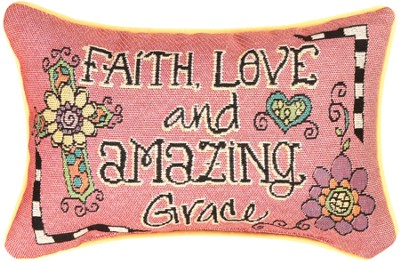 Faith, Love and Amazing Grace Pillow  -