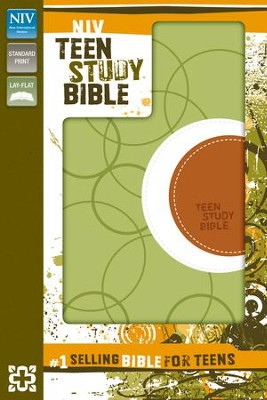 NIV Teen Study Bible, Italian Duo-Tone, Melon Green   -