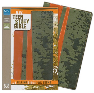 NIV Teen Study Bible, Italian Duo-Tone, Mud Splat Moss   -