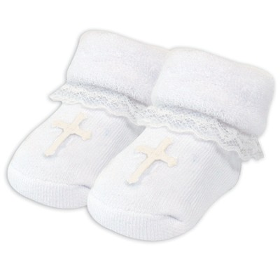 Lace Baby Booties with Cross, White  -