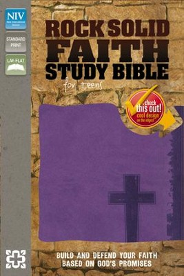 Rock Solid Faith Study Bible for Teens, NIV: Build and Defend Your Faith Based on God's Promises, Italian Duo-Tone, Violet  -