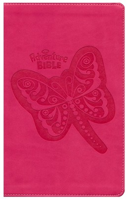 NIrV Adventure Bible, Imitation Leather, Hot Pink with Butterfly - Imperfectly Imprinted Bibles  -