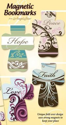 Hope, Peace, Love, Faith--Magnetic Cross Bookmarks, Set of  4  -