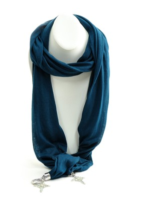 Ladies Scarf with Cross Charms, Blue  -
