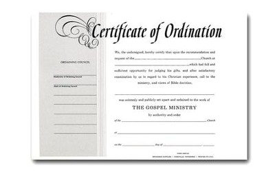 Minister Ordination Billfold Card    -