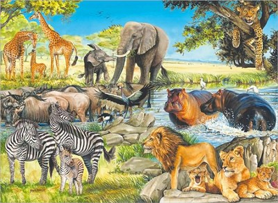 African Afternoon, 100 Piece Puzzle   -