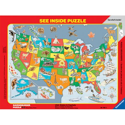 USA States & Capitals See Inside Frame Puzzle, 63 Piece   -