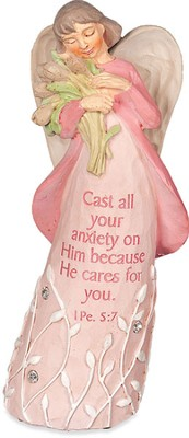 Angel Figurine, Cast all Your Anxieties on Him  -