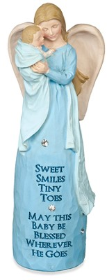 Blessed New Baby Angel Figurine, Blue  -