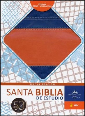 Biblia de Estudio RVR 1960 Serie 50, Piel Imit. Azul/Naranja  (RVR 1960 50 Series Study Bible, Imit. Leather Blue/Orange)  -     By: Zondervan