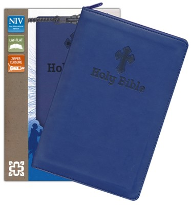 NIV Backpack Zipper Bible, Italian Duo-Tone, Blue  -     By: Zondervan