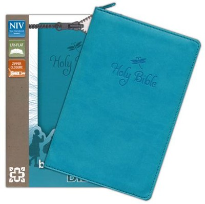 NIV Backpack Zipper Bible, Italian Duo-Tone, Teal  -     By: Zondervan