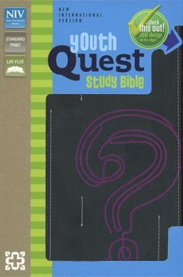 NIV Youth Quest Study Bible: The Question and Answer  Bible, Italian Duo-Tone Black/Pink  -