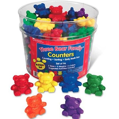 Three Bear Family Rainbow Counters, Set of 96  -     By: Homeschool