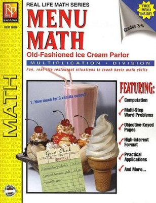 Menu Math: Old Fashioned Ice Cream Parlor, Multiplication &  Division  -