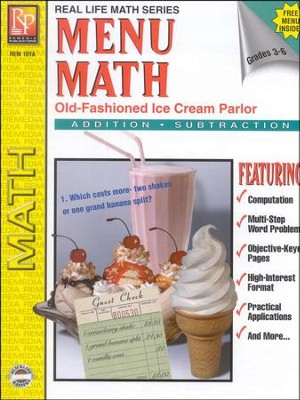 Menu Math: Old Fashioned Ice Cream Parlor, Addition & Subtraction   -