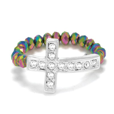 Cross Stretch Ring, Rainbow  -