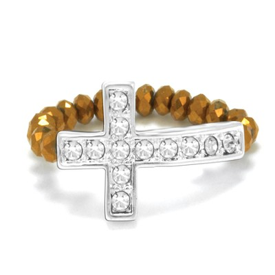 Cross Stretch Ring, Bronze  -
