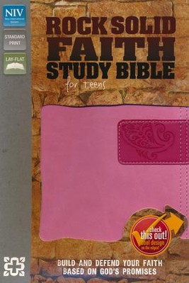 NIV Rock Solid Faith Study Bible for Teens, Italian Duo-Tone Pink/Hot Pink  -     By: Zondervan