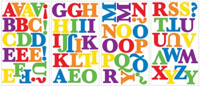 Letters, Vinyl Wall Stickers, Primary Colors  -